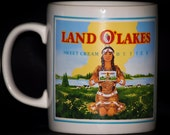 2 Land O Lakes Butter Logo Mugs - Coloroll - Kilncraft - England - Double Sided - Vintage