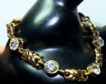 Vintage Gold and CZ Bracelet, X and CZ O Ladies Bracelet, 7 inch Womens Bracelet