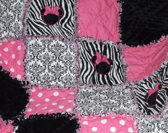 Personalized  Custom Boutique  Appliqued  Zebra N Damask Minnie Applique N Minky Rag Quilt Crib Bedding Made to Order