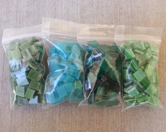 Mosaic Tiles 400 GREENS TEAL AQUA Stained Glass Mosaic Tile