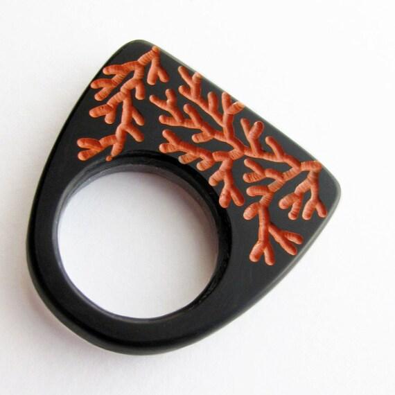 Branches Ring, Modern Plexi Jewelry, Engraved Plexiglass, Black Gray Fire Orange, Size 9.75