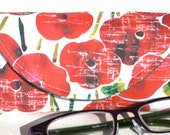 Eyeglass Case - Sunglass Case - Magnetic Closure - Magnetic Clasp - Red Poppy - Eyeglass Holder