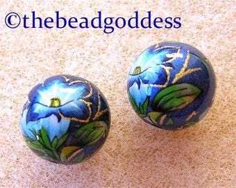 LIMITED EDITION Japanese TENSHA Beads Morning Glory on Blue Metallic 12mm