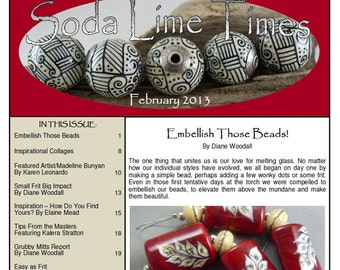 Feb 2013 Soda Lime Times Lampworking Magazine - Embellishment Issue - (PDF) - by Diane Woodall