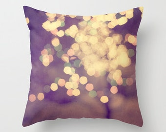 decorative pillow cover-home decor- photo pillow- lights-bokeh-yellow-brown-festive- room decor- abstract photography