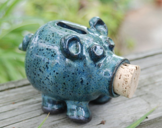 Blue ceramic handmade piggy bank made to by brookhousepottery for Handmade coin bank