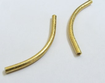 Brushed Bali Gold Vermeil Textured Curved Tube Noodle Beads 40mm Large (2 tubes)