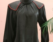 Black Long Sleeve Blouse with Faux Leather Shoulder Accents Size 4