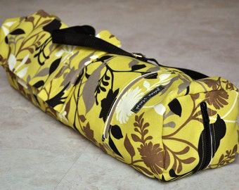 Yoga and pilates mat bag, unique yellow, black, ivory, and tan bird and floral print yoga bag with zipper, pockets, and adjustable strap