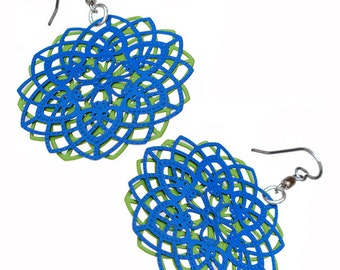 Spirograph Stainless Steel Earrings in Apple Green/Blue