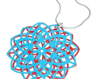 Spirograph Stainless Steel Pendant in Aqua/Red