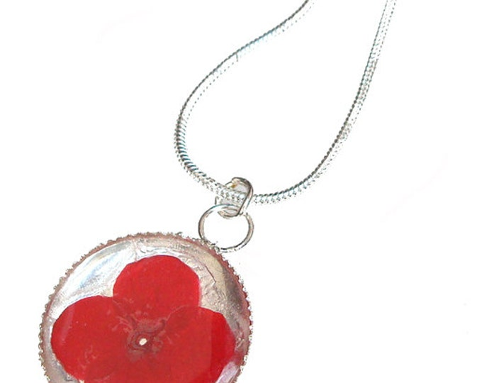 Red Verbena /sterling silver pendant