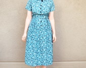 Vintage Novelty Print Rayon 1940's dress with belt and bow tie bicycles S/M