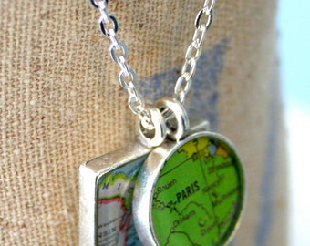 GirlFriend Map Pendants, Custom Order Map Jewelry, Large Square, You Name the Cities, Brushed Matte Finish