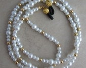 White Pearl and Gold Beaded Eyeglass Chain Holder for Reading Glasses