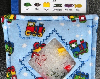 I Spy Bag - Mini with SEWN Word List and Detachable PICTURE LIST- Trains