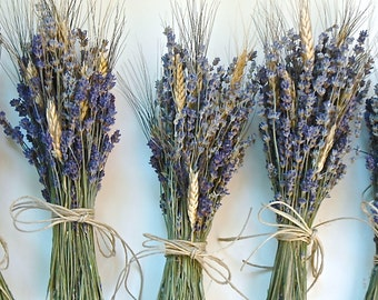 9 Simple Lavender and Wheat Bouquets with Hemp Twine