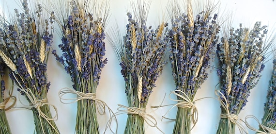 One Simple Lavender and Wheat Bouquet for Flower Girls Bouquet OR Bridesmaid Rustic Summer  or Fall Wedding