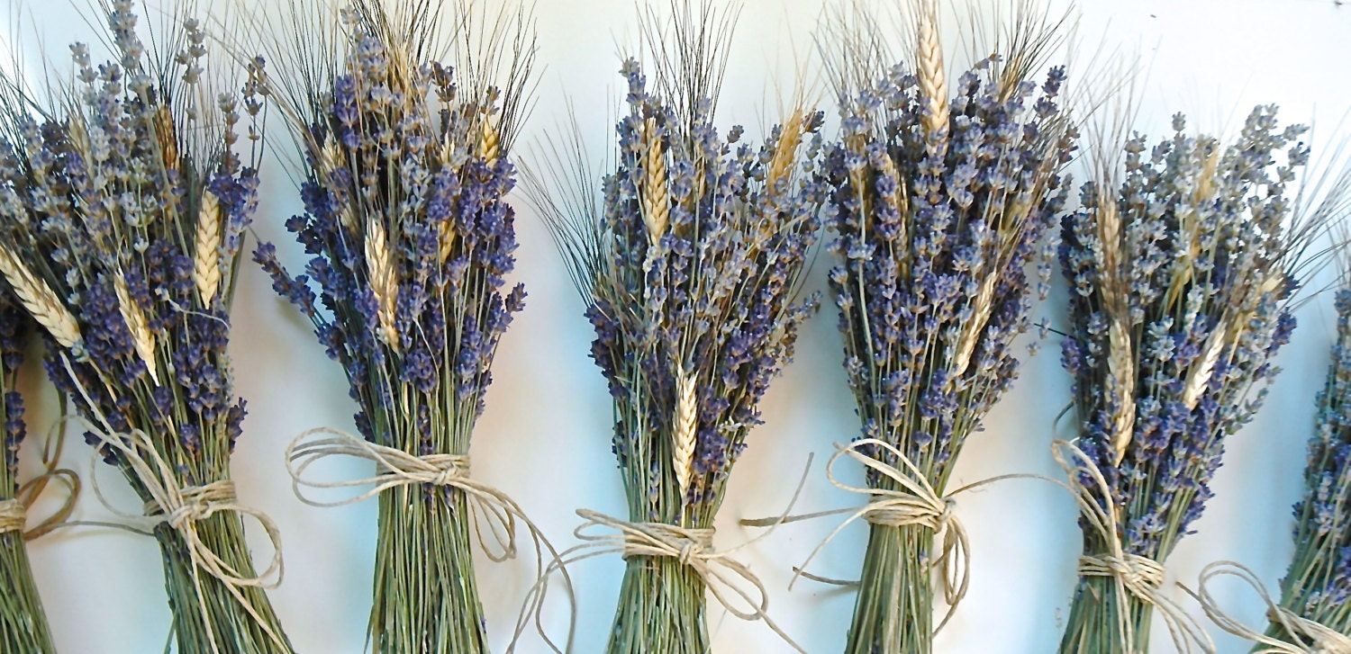 One simple lavender and wheat bouquet for flower girls bouquet for Simple fall bridesmaid bouquets