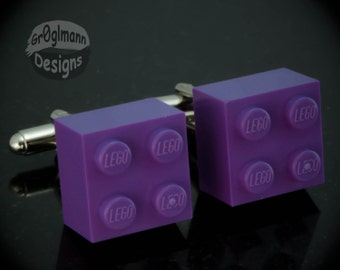 Purple Cufflinks - made with LEGO bricks