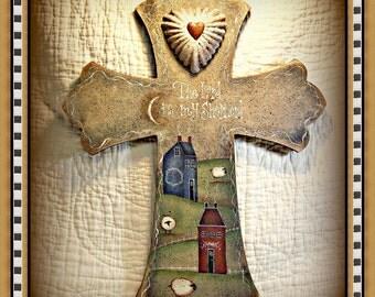"E Pattern - Martha Smalley's Apple Tree Cottage Designs - ""Rustic Primitive Cross"""