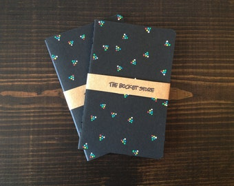 Set of 2 : Small Black Hand-painted Notebooks