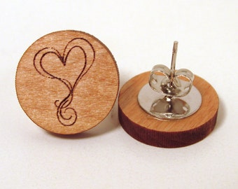 Valentine's Day Wooden Earrings - Doodle Heart Design
