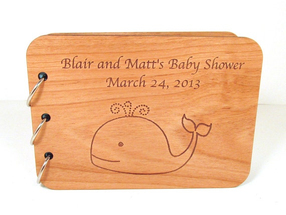 Whale Baby Shower Guest Book - Real Wood Cover - Personalized