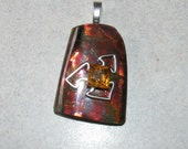ON CLEARANCE Rare Ammolite With 925 Sterling Silver , Golden Citrine Gemstone And Aanraku Silver Plated Bail