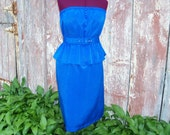 Blue Reptile Print Upcycled Granny Dress with Peplum and Belt size S/M