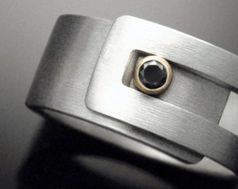 Black Diamond Sterling silver Strap Ring