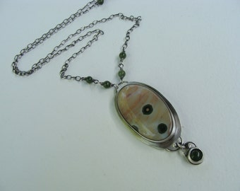Ocean Jasper Jade Sterling Silver Bezeled Oxidized Handcrafted Necklace