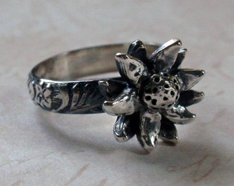 Silver Flower Ring Oxidized Floral Ring in Sterling and Fine Silver