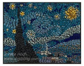 Starresistor Night - resistor art 'painting'  - mixed media - Starry Night - print