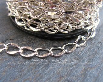 SPOOL - Quality Silver Plated  6x8.8mm Hammered Curb Chain