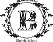 Vintage Monogram rubber stamp 2x2 for wedding favors --5588