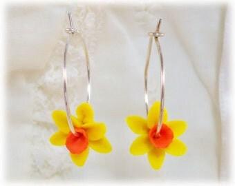 Daffodil Hoop Earrings - Flower Hoop Earrings, Daffodil Jewelry, March Birthday Birth Flower, Spring Flower Jewelry