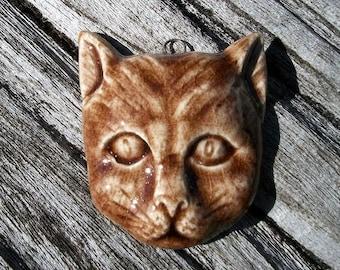 Ceramic Brown Cat Face Pendant