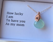 Mother's Jewelry Gift, Rose Gold Personalized Necklace & Card Set- Oval Charm, Thank you Mom Necklace, Mom Jewelry, Mother of Bride or Groom