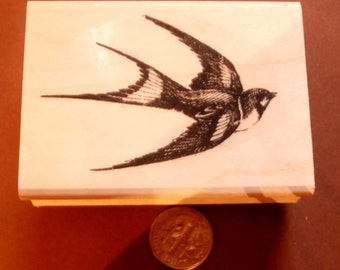 Swallow bird rubber stamp  2.25x1.5 P22