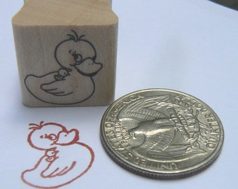 P24 Rubber duck rubber stamp, miniature.