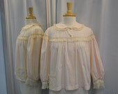Vintage Fifties Pink Lace Bedjacket Shirt Sleepwear Pajama Top Size Small to Medium