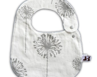 Baby Bib -Reversible- Dusty Dandelion and White, Light Pink or Gray Minky Dot