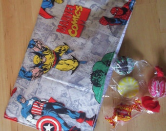 Reusable cloth snack bag - Comic Heros also use for tea first aid cosmetics jewelry