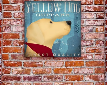 Yellow Dog guitars original graphic illustration art on gallery wrapped canvas by stephen fowler