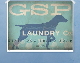 German Shorthaired Pointer dog GSP laundry company laundry room artwork giclee archival signed artists print Pick A Size