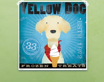 Yellow Dog Labrador Ice Cream Company original graphic art giclee archival print by Stephen Fowler PIck A Size