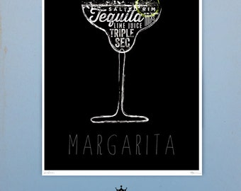 Cocktail recipes typography bar art original graphic artwork by stephen fowler signed giclee print