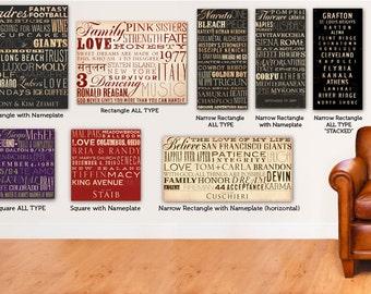 Custom Artwork Typography graphic word art on canvas 18 x 18  by stephen fowler geministudio