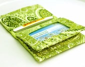 Green Paisley ID Wallet  - made with remnant and reclaimed fabric - credit card ID holder with vinyl window - ready to ship